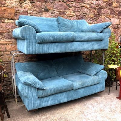 Turquoise Cord Fabric Sofa Suite