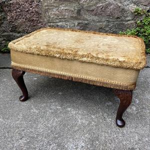 Upholstered Queen Anne Style Low Stool