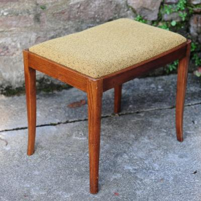 Upholstered Teak Stool