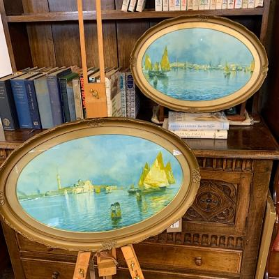 Pair of oval framed Venetian scenes