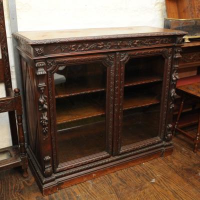 Victorian Carved Oak Glazed Bookcase