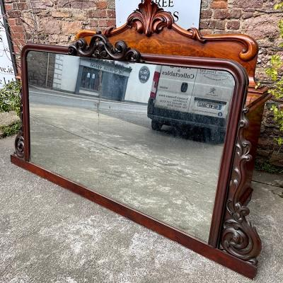 Victorian Carved Large Overmantle Mirror