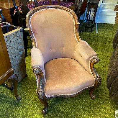 Victorian Carved Walnut & Upholstered Armchair