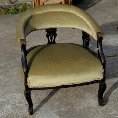Victorian Ebonised Tub Chair
