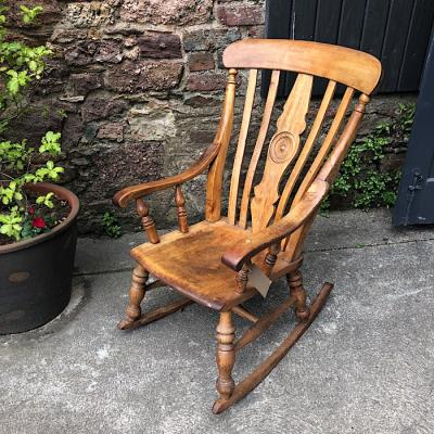 Victorian Elm & Beech Farmhouse Rocking Chair