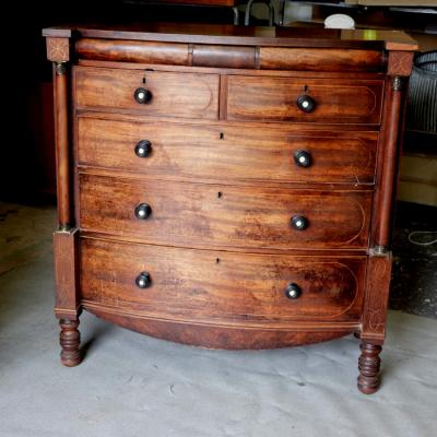 Victorian Inlaid Mahogany Bow Front Chest