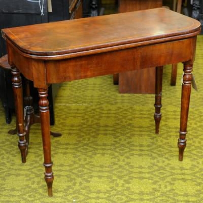 Victorian Inlaid Mahogany Fold-Over Tea Table