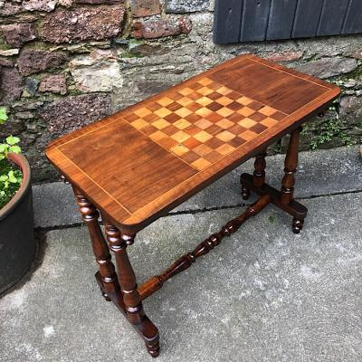 Victorian Inlaid Walnut Games Table