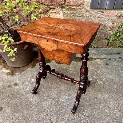 Victorian Inlaid Walnut Ladys Sewing Table