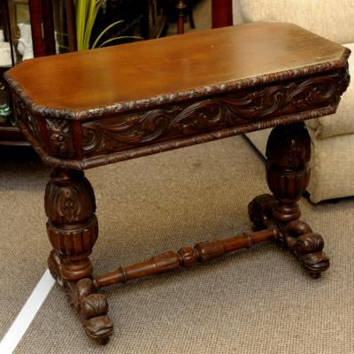 Victorian Jacobean Revival Carved Oak Side Table