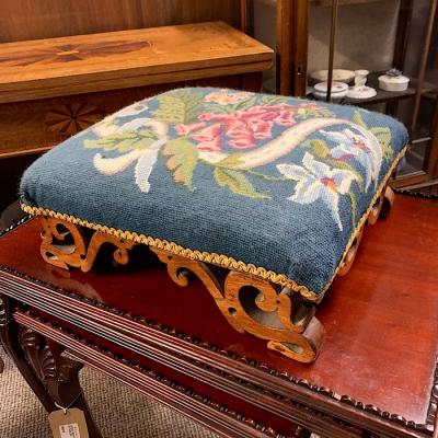 Victorian Mahogany & Embroidered Footstool