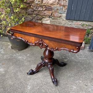 Victorian Mahogany Fold Over Tea Table