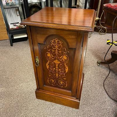 Victorian Mahogany & Marquetry Inlaid Pot Cupboard