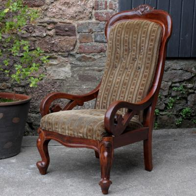 Victorian Mahogany & Upholstered Armchair