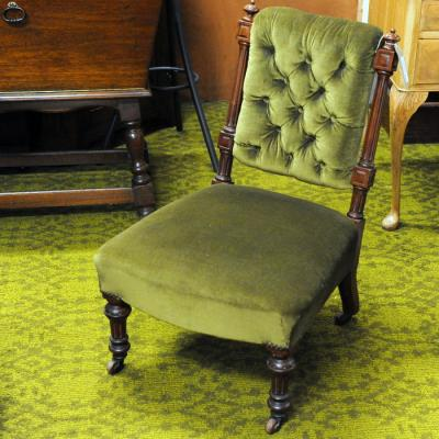 Victorian Mahogany Upholstered Lady'S Chair