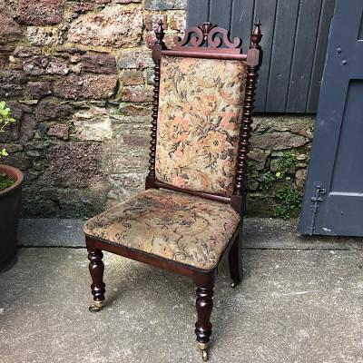 Victorian Mahogany & Upholstered Side Chair