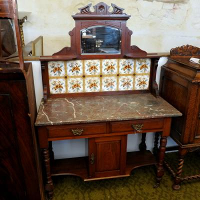 Victorian Marble Topped Tile Backed Wash Stand