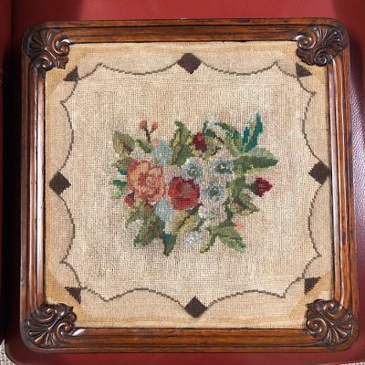 Victorian Needlework On Rosewood Frame