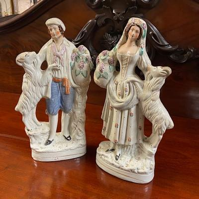 Victorian Staffordshire Pottery Goatherds