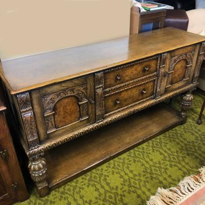 Vintage 1930's Carved Oak Sideboard