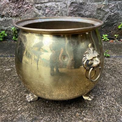Vintage Brass Lion Feet Plant Pot