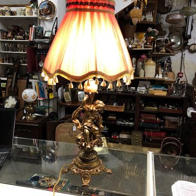 Vintage Brass & Onyx Table Lamp
