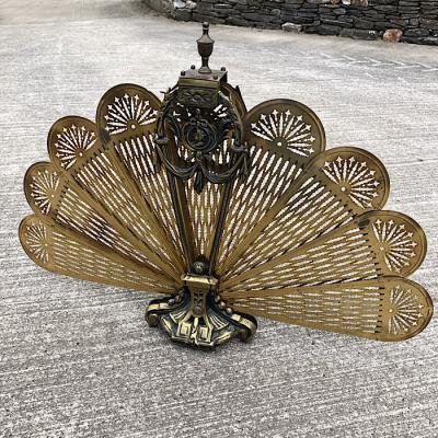 Vintage Brass Peacock Firescreen