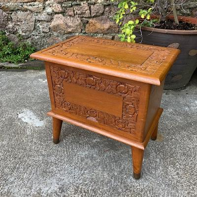Vintage Carved Beech Sewing Box