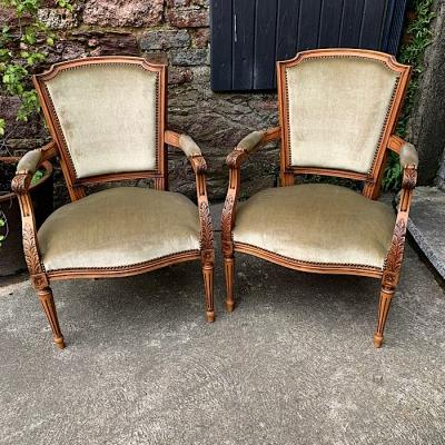 Vintage Carved Oak Armchairs