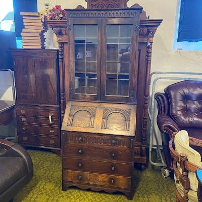 Vintage Carved Oak Bureau Bookcase