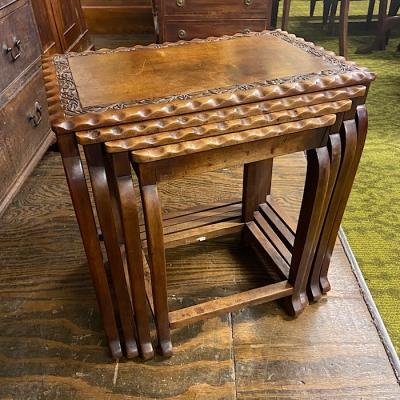 Vintage Carved Walnut Quartetto Nest Of Tables