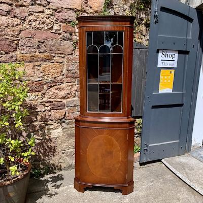 Vintage Corner Cabinet with Leaded Glass