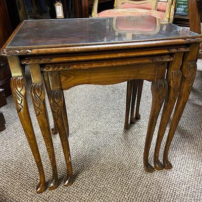 Vintage Glass Topped Mahogany Nest Of Tables