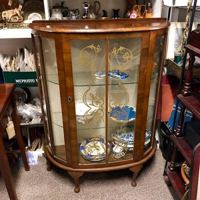 Vintage Walnut Bow Front Display Cabinet