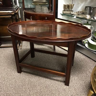 Vintage Mahogany Oval Tray Top Coffee Table
