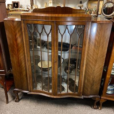 Vintage Mahogany Serpentine Display Cabinet