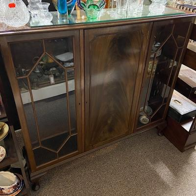 Vintage Mahogany Side By Side Bookcase
