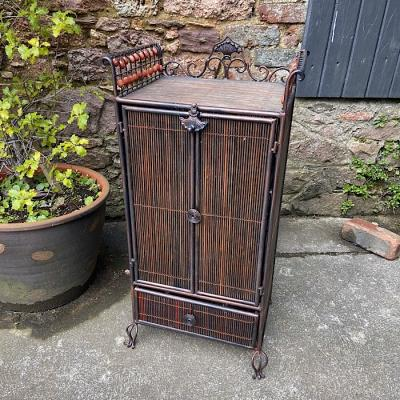 Vintage Metal And Wicker Cabinet