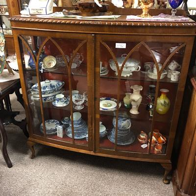 Vintage Oak Bow Front Display Cabinet
