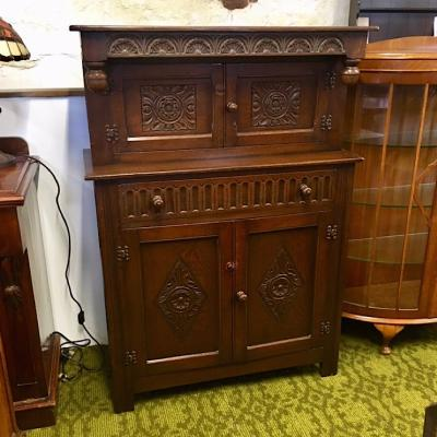 Vintage Oak Court Cupboard