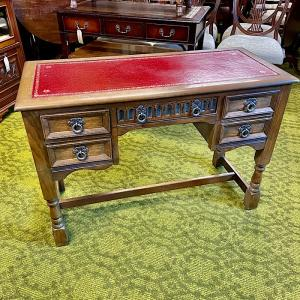 Vintage Oak & Leather Topped Desk