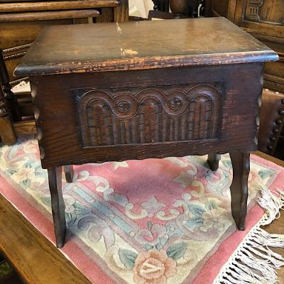 Vintage Oak Stool Sewing Box