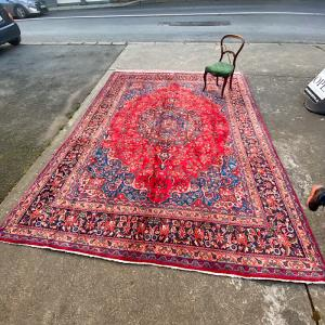 Vintage Persian Mashad Hand Knotted Rug