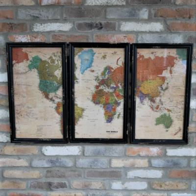 Vintage Style World Map Triptych