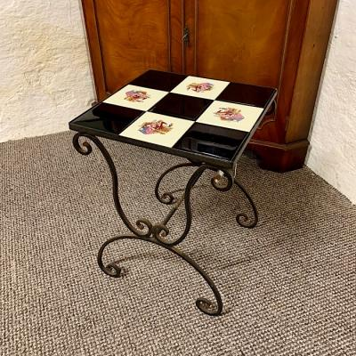 Vintage Tile Topped Metal Table