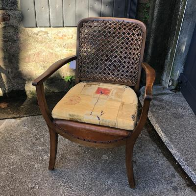 Vintage Walnut Bergere Chair