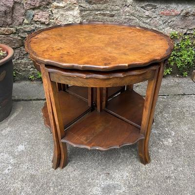 Vintage Walnut Circular Nest Of Tables