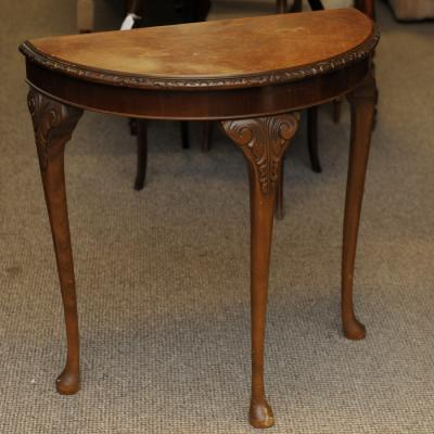 Walnut Demi-Lune Hall Table
