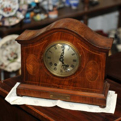 Walnut Inlaid Mantel Clock