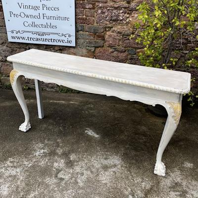 White Chippendale Style Console Table